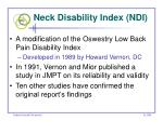 neck disability index ndi