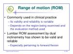 range of motion rom