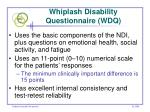 whiplash disability questionnaire wdq