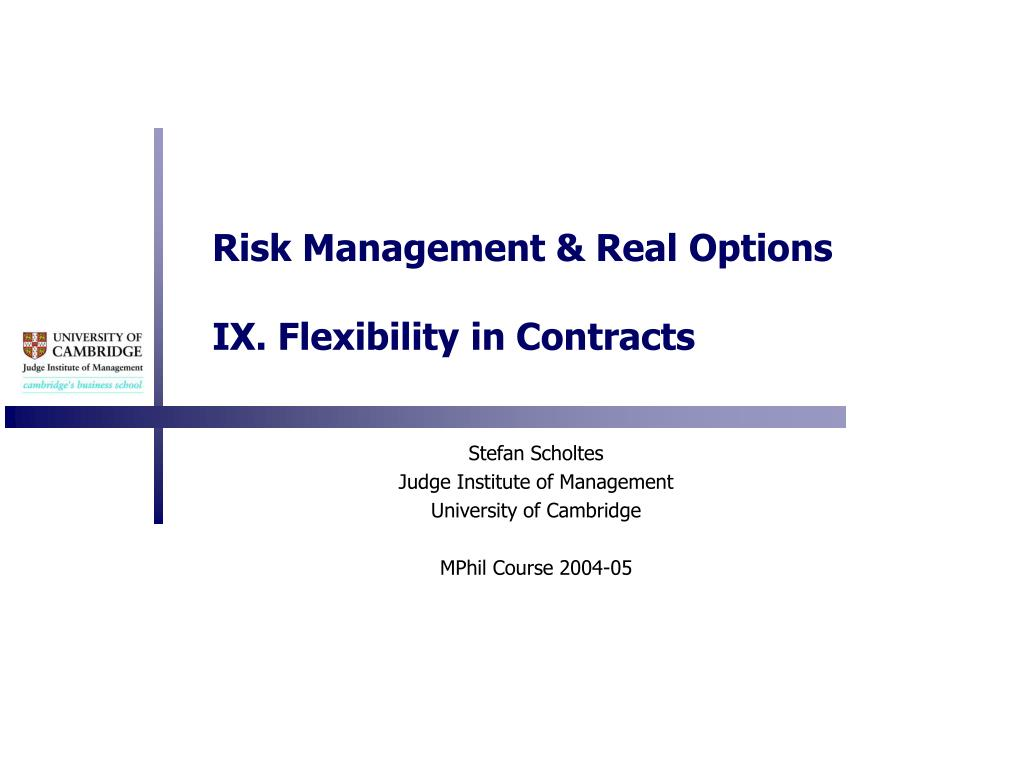 risk management real options ix flexibility in contracts l.