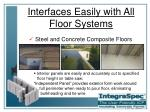 interfaces easily with all floor systems