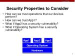 security properties to consider