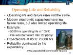 operating life and reliability