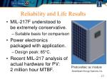 reliability and life results