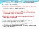 measures affecting services expanded in korea eu to include