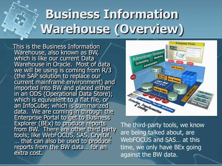 Business information warehouse overview