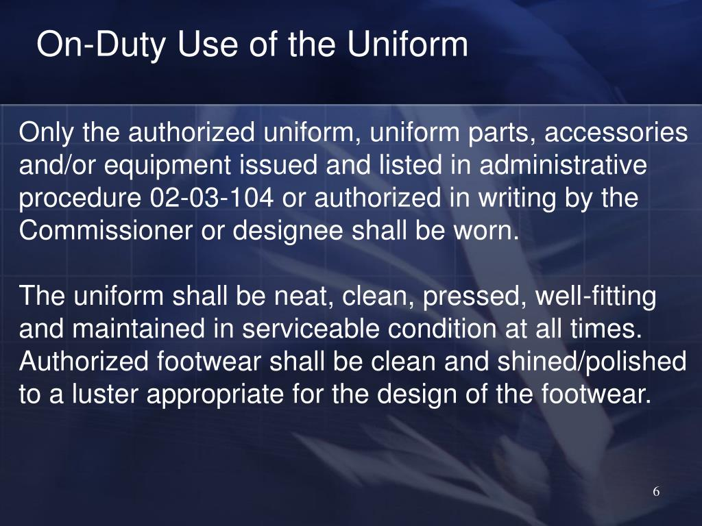 On-Duty Use of the Uniform