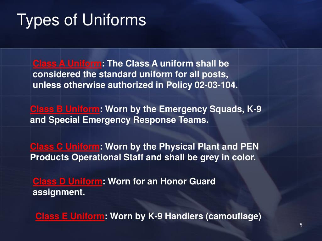 Types of Uniforms