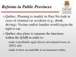 reforms in public provinces