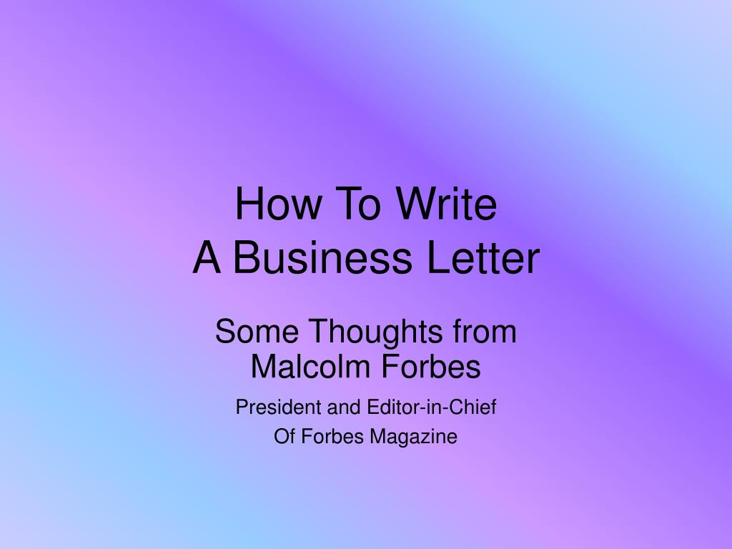 how to write a business letter l.