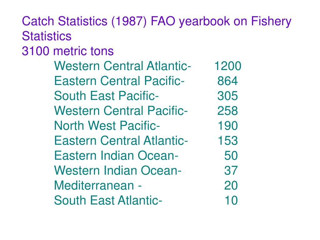 Catch Statistics (1987) FAO yearbook on Fishery Statistics