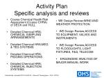 activity plan specific analysis and reviews