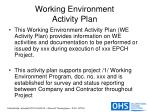 working environment activity plan