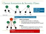 cluster formation security flaws