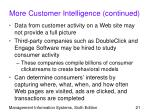 more customer intelligence continued