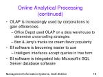 online analytical processing continued18
