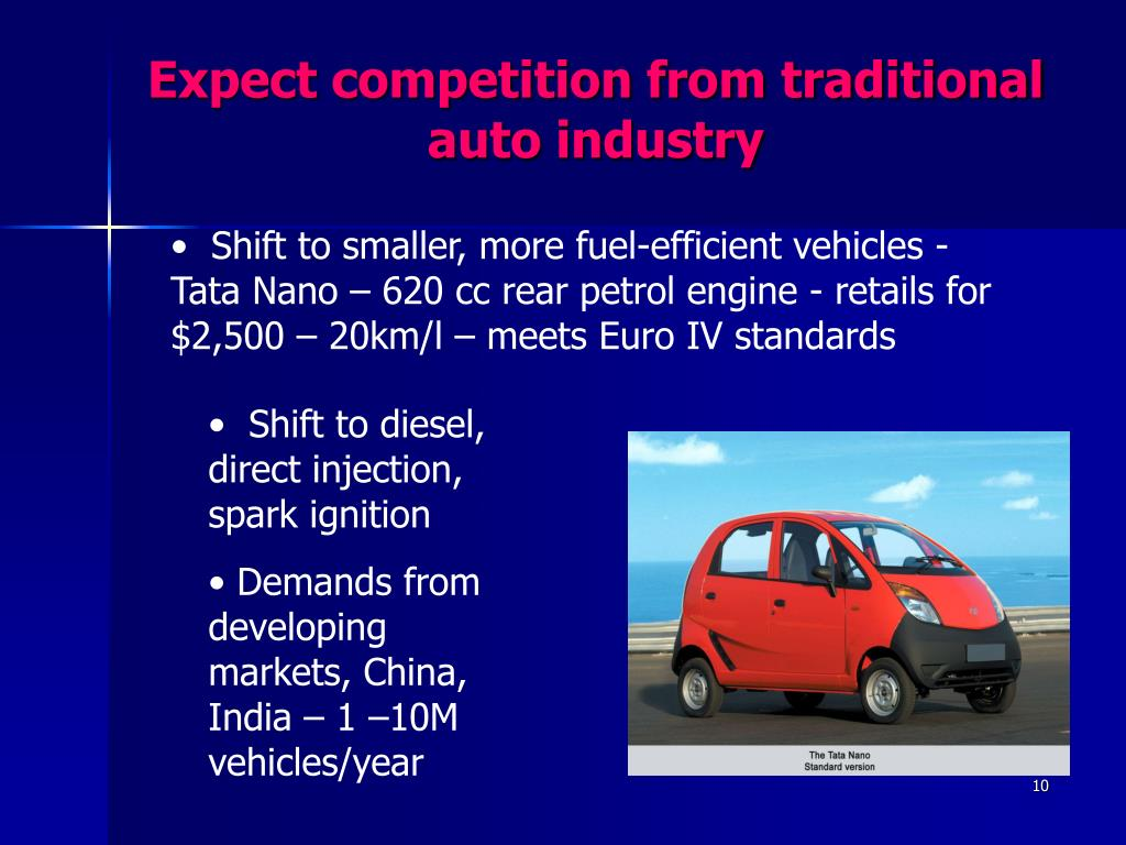 Expect competition from traditional auto industry