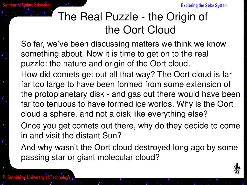 The Real Puzzle - the Origin of