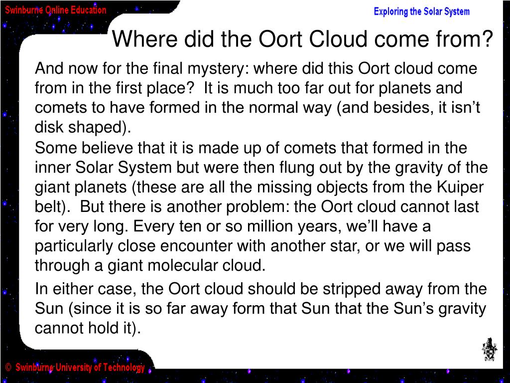 Where did the Oort Cloud come from?