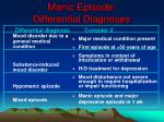manic episode differential diagnoses