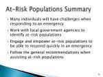 at risk populations summary