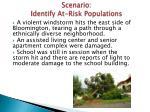 scenario identify at risk populations
