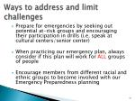 ways to address and limit challenges