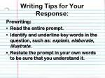 writing tips for your response