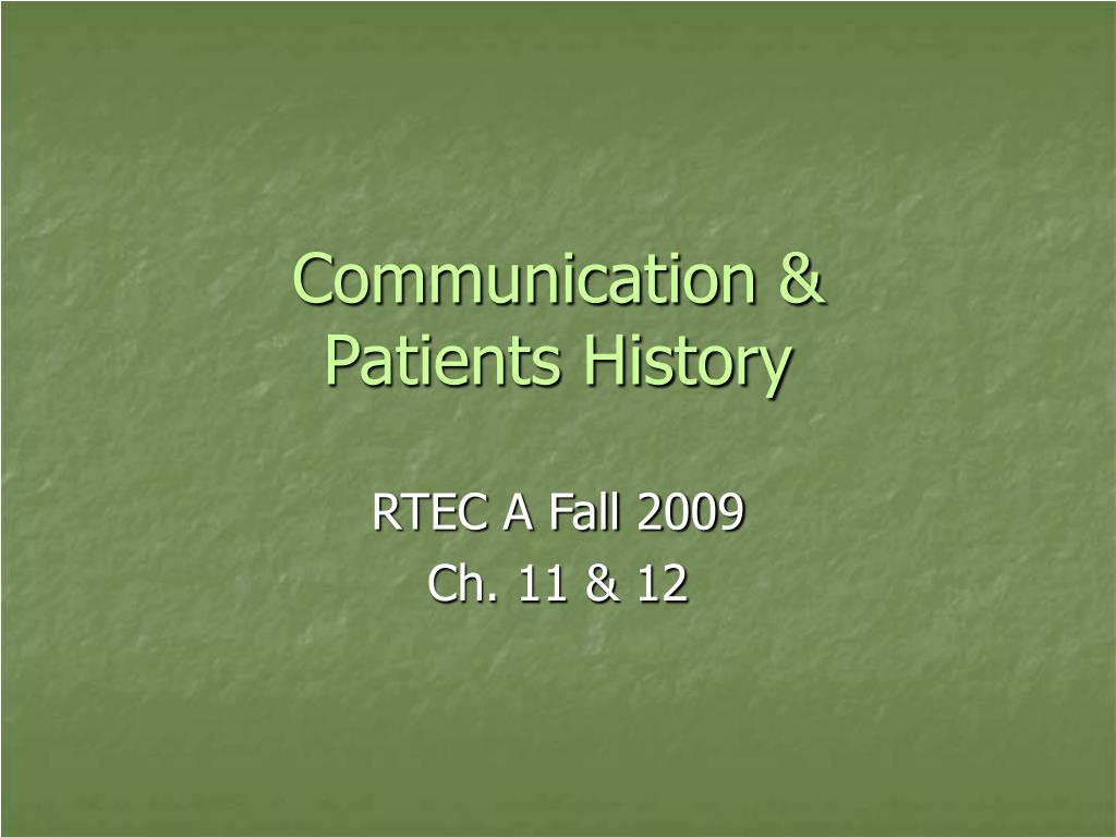 communication patients history l.