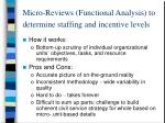 micro reviews functional analysis to determine staffing and incentive levels