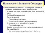 homeowner s insurance coverages