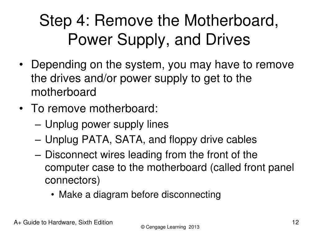 Step 4: Remove the Motherboard, Power Supply, and Drives