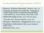 content based instruction why