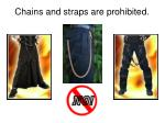 chains and straps are prohibited
