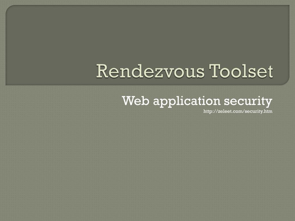 rendezvous toolset l.
