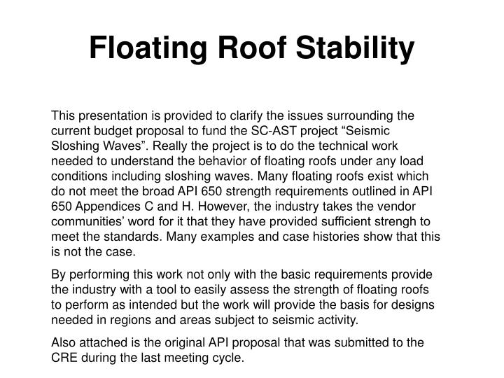 floating roof stability n.