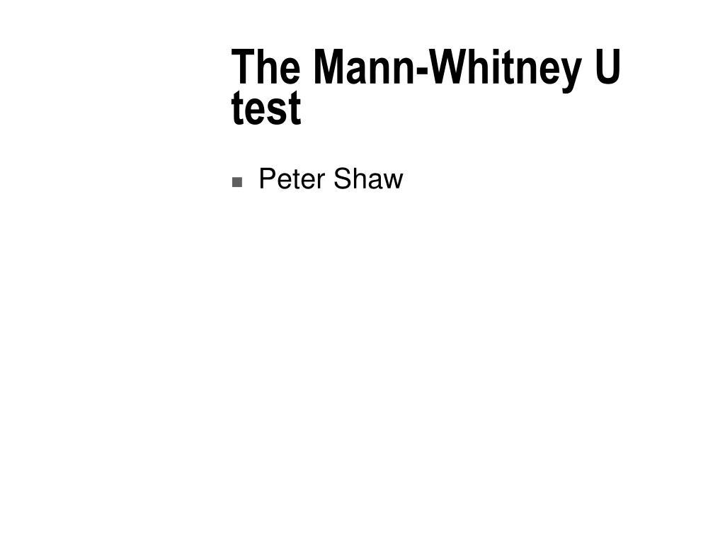 the mann whitney u test l.