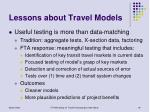 lessons about travel models19