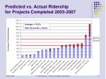 predicted vs actual ridership for projects completed 2003 2007