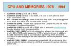 cpu and memories 1978 1994