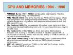cpu and memories 1994 1996