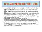 cpu and memories 1998 2006