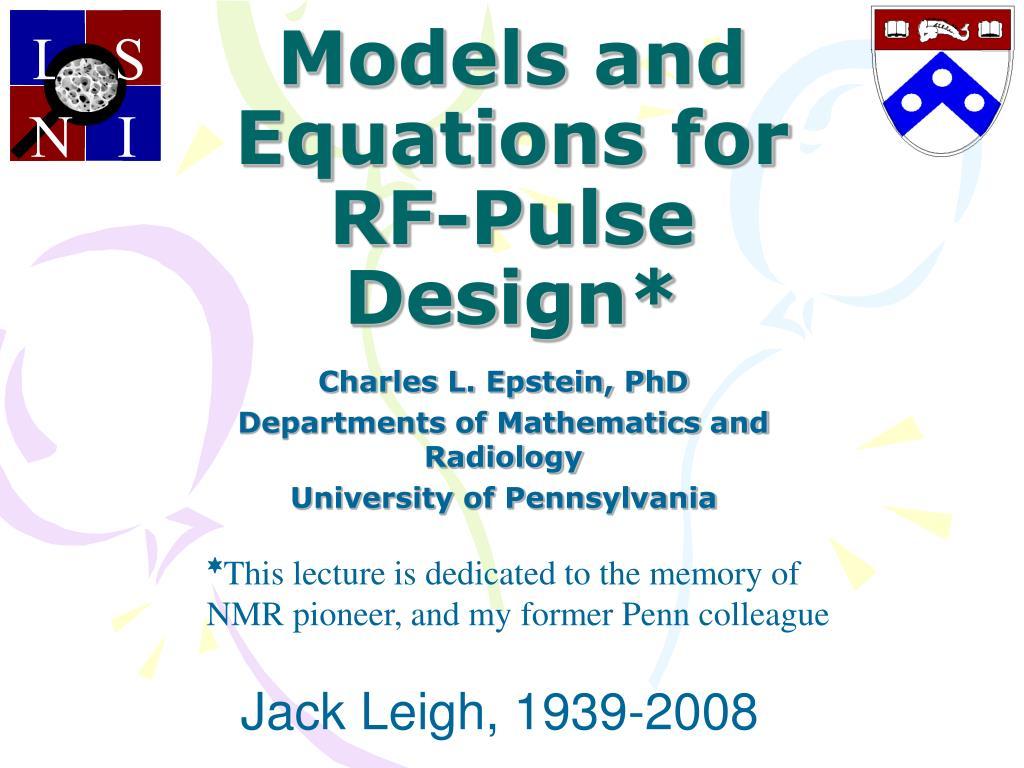 models and equations for rf pulse design l.