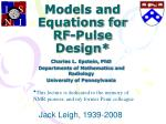 models and equations for rf pulse design