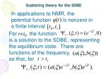 scattering theory for the sdbe