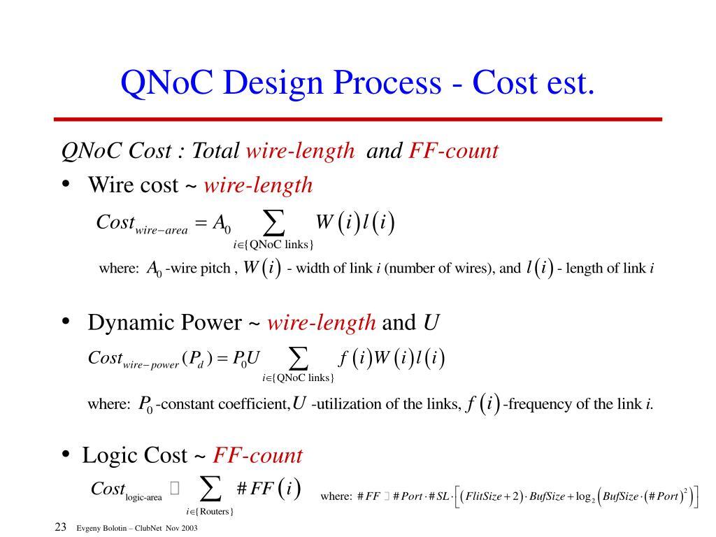 QNoC Design Process - Cost est.