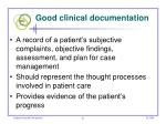 good clinical documentation