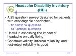 headache disability inventory hdi