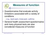 measures of function