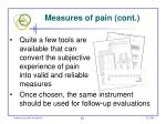 measures of pain cont